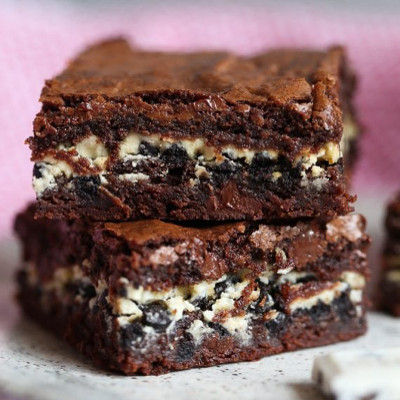 Cookies N Creme Filled Brownie